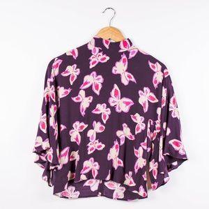 Mango MNG purple butterfly mock neck blouse